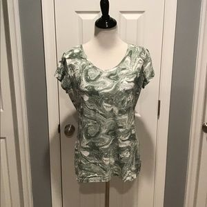 Style & Co Green & White Marble Style Shirt